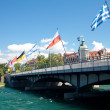 Bridge with flags of many countries in Konstanz, Germany — Foto de Stock
