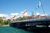 Ponte com bandeiras de muitos países em konstanz, alemanha — Foto Stock