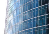 New skyscrapers business centre, climbers clean windows — Stock Photo
