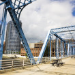 Blue bridge in Grand Rapids - Stock Photo