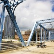 Blue bridge in Grand Rapids — Stock Photo #3576068