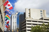 National flags in downtown of Grand Rapids — Stock Photo