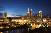 Night in downtown Cleveland — Stock Photo