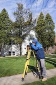 Surveyor working with theodolite — Stock Photo