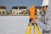 Land surveying during the winter — Stock Photo