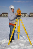Winter time surveying — Stok fotoğraf