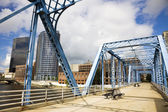 Blue bridge in Grand Rapids — Stock Photo