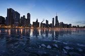 Avond in chicago, goudkust — Stockfoto