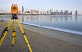 Theodolite in downtown Chicago — Stock Photo