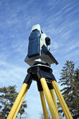 Theodolite seen from ground level. — Stock Photo