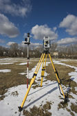 Winter land surveying — Stock Photo