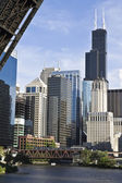 Chicago from under the bridge — 图库照片