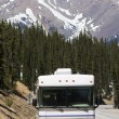 RV driving the mountains — Stockfoto