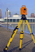 Theodolite set in front of Aquarium — Stock Photo