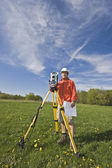 Surveying with theodolite — Stock Photo