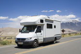 RV driving to Great Sand Dunes National Park — Stock Photo