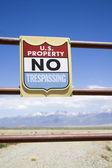 US property - no trespassing — Stock Photo