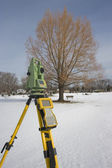 Winter surveying — Stock Photo