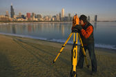 Surveying in Chicago — Stock Photo