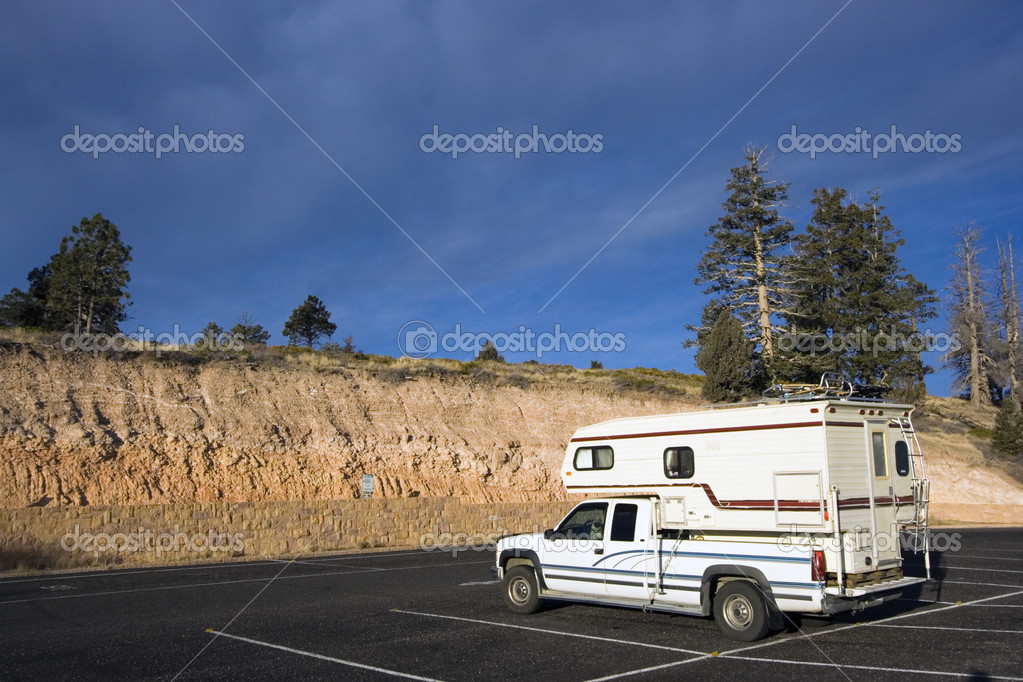 Small mobile home travelling in Utah — Stock Photo #3595578