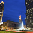 Colorful Evening in downtown Cleveland — Stock Photo