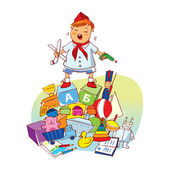 Little boy with toys. Vector illustration — Stock Vector