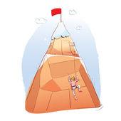 Man climbing a mountain — Stock Vector