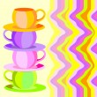 Colorful cups and saucers. — Stock Vector