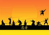 Vector set of ninja silhouettes — Stock Vector