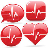 Vector set of cardiograms in different shapes — Stock Vector