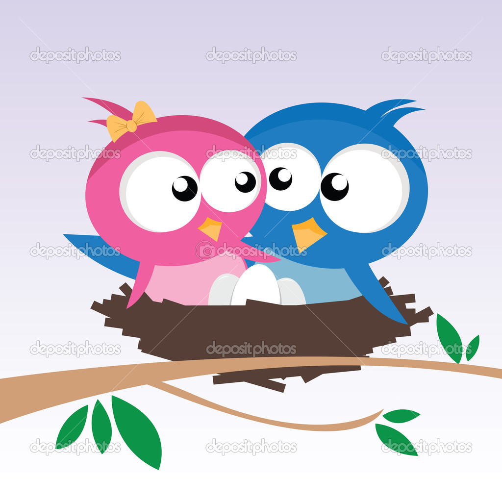 Vector illustration of two birds in love  Stock Vector #3861197