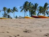 Bunch of canoes at Anaeho'omalu — Stock Photo