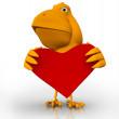 3d bird with a red heart in hes hands — Stock Photo