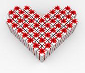Cajas de regalo en forma de corazón. — Foto de Stock