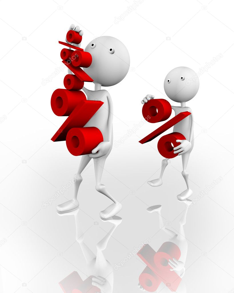 3d little men have big and small characters percent symbol — Stock Photo #3609321