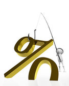 Fishing hook with a golden symbol per cent. — Stock Photo