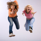 Long duble jump — Stock Photo