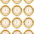 Vector golden clocks — Stock Vector