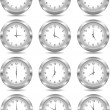 Vector silver clock — Stock Vector