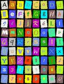 English alphabet over black — Stock Vector