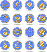 Vector golden blue buttons — Stock Vector