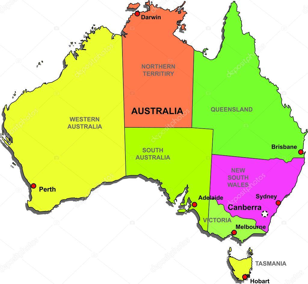 Color vector map of australia - stock illustration