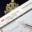 Stock Photo: Canadpassport on declaration card
