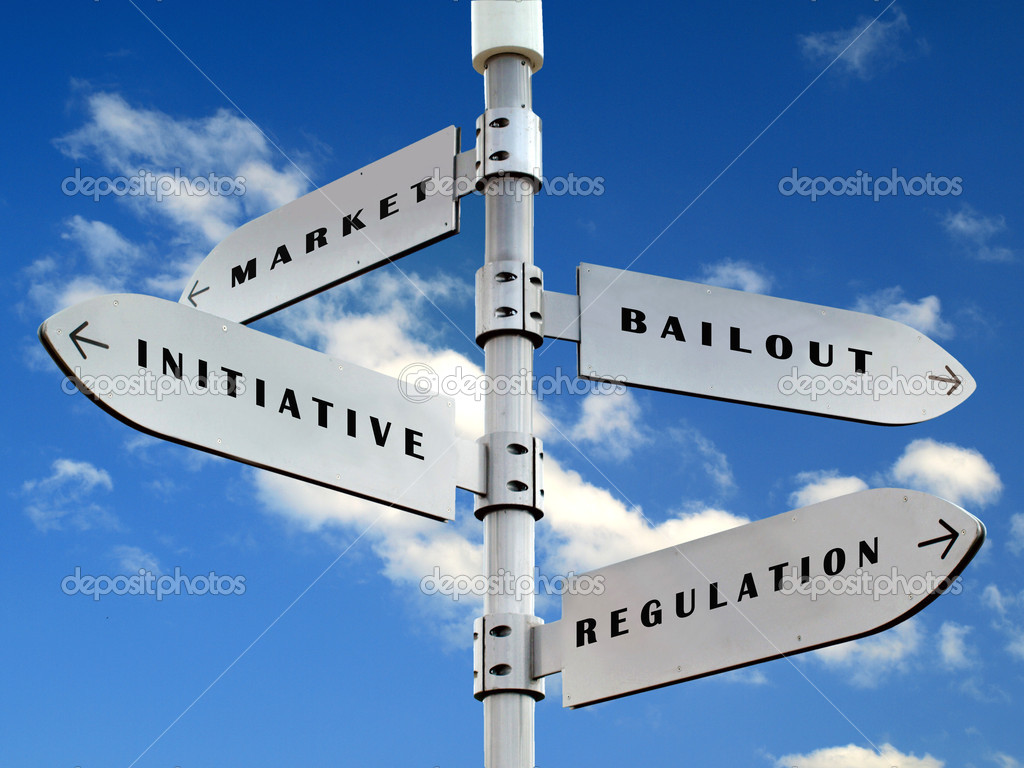 Economy directions sign  on the  blue sky — Stock Photo #3624522
