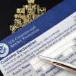 Passport on U.S.declaration card - Stock Photo