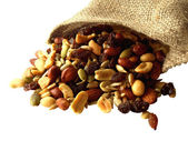Trail mix of nuts, seeds, and dried fruit. — Photo