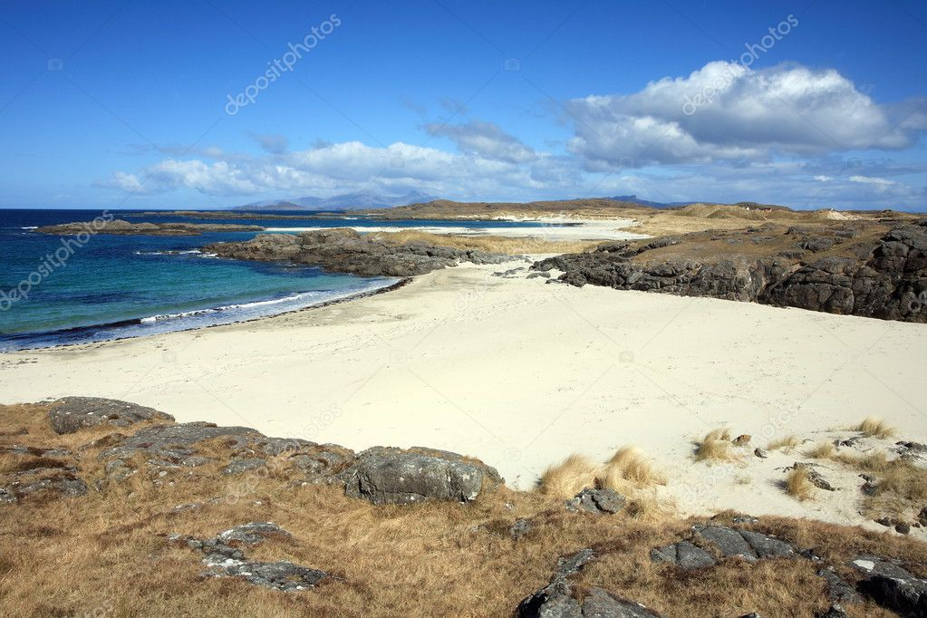 Beautifull beach at Sanna Bay on the Ardnamurchan Penninsula in the Highlands of Scotland.  Stock Photo #3613153