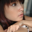 Close up face of young lady — Stock Photo #3657741