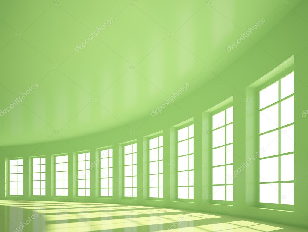 Green Empty Hall with Windows — Stock Photo #3564765