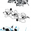 Stock Vector: Black orchid set